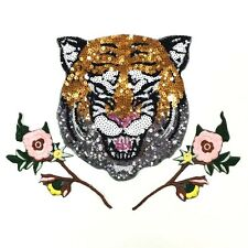 3pcs Tiger Mirror Floral Sequin Embroidered Iron On Patch Fashion Applique DIY