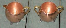 Vintage Copper Sugar & Creamer w/Brass Handles Spout & Pewter Feet