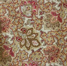 Waverly Paisley Fabric Valance Coral Yellow 100 X 15 inches Cotton Farmhouse