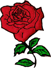 6284 Red Rose Flower Cutout Romantic Tattoo Biker Embroidered Iron On Patch