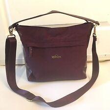 Kipling Crossbody Maroon Handbag EUC gold Hardware Large Size Pockets