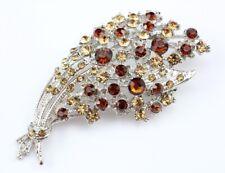 Bridal Wedding Brooch Pin Pendant Golden Ornate Austrian Rhinestone Crystal