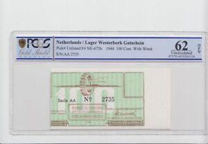 Países Bajos / Rodamientos Westerbork 100 Céntimos Cupón Errata, Verschoben, R