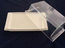 RETRO VINTAGE TUPPERWARE BUTTER DISH STORAGE CONTAINER CLEAR LID CREAM BASE