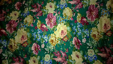 tissu voile de coton 100%  fleurs fonds vert 100x140 cm