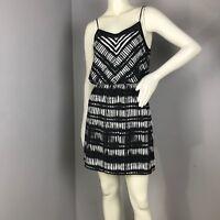 Express Womens Black White Spaghetti Strap Blouson Dress Size XS