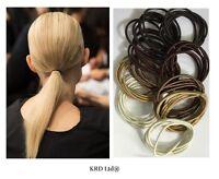 Snag Free Thin Elastic Hair Bands Brown Bobbles School Band Ponytail Elastics