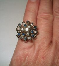 Large Mid Century 14kt White Solid Gold Diamond Sapphire Cocktail Ring Free Szg