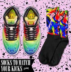 SPLATTER Socks for Jordan 1 J Balvin Tie Dye Rainbow Be true Multi Color T Shirt