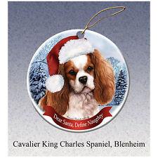 Cavalier King Charles Spaniel Howliday Porcelain China Dog Christmas Ornament