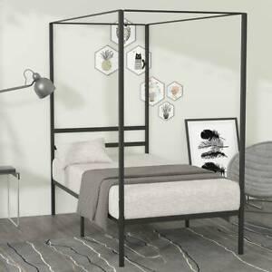 YITAHOME Metal Twin Size Canopy Bed Frame Platform Headboard Mattress Foundation
