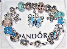 "Pandora Charm Bracelet 8.25"" w/ Heart Clasp & 6 Pandora Glass Beads"