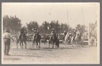 [59357] Circa 1910's REAL PHOTO POSTCARD COWBOYS MOUNTED ON HORSES AT RODEO