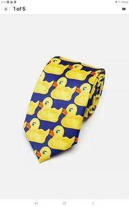 mens ladies tie necktie rubber ducks gag novelty funny gift idea FREE POSTAGE