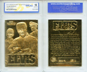 """2010 ELVIS PRESLEY """"The King"""" 23KT GOLD SCLUPTURED CARD * GRADED GEM-MINT 10 *"""