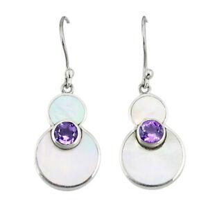 Natural Purple Amethyst White Pearl 925 Sterling Silver Dangle Earrings C23045