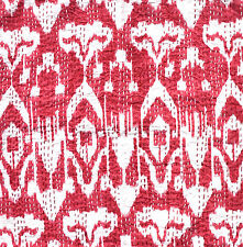 "Indian Ikat Design Cotton Kantha Stitch Cushion Cover - Cherry -20""/50 cm"