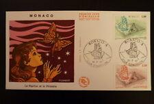 MONACO PREMIER JOUR FDC YVERT  1585/86    LES PAPILLONS     1,90+2,20F      1987