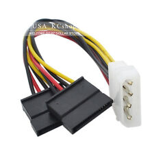 3PCS New 4 PIN IDE Molex To 2 X 15 Pin SATA Power Adapter cable cord From USA