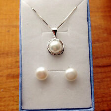 Genuine 7-8mm Freshwater Pearl necklace and earring S925 silver small cute set