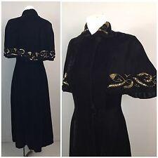 Vintage 1930s Black Velvet Beaded Gown Sleeveless Dress Cape Jacket XS Art Deco
