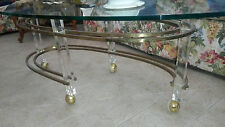 Mid Century Modern Sculptural Glass & Brass &  Lucite Coffee / Cocktail Table
