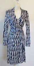 Diane von Furstenberg New Jeanne Two Glass Weave Purple wrap dress 10 black DVF