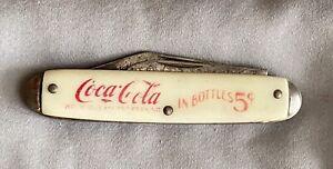 Vtg Coca Cola Coke Pocket Knife 2 Blades 5 Cents White Handle Made In USA