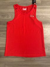 Nwt Men'S Sz S Under Armour Lava Red Fine Stripe Fitted Tank Top Shirt $25