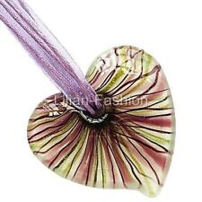 Gold Purple White Heart Lampwork Glass Murano Bead Pendant Ribbon Necklace Cord
