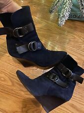 Givenchy Navy Blue Suede Booties With Brown Leather Stripes Size 40.5 Boots