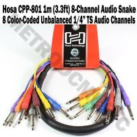 """Hosa CPP-801 1m 3.3ft 8-Channel Unbalanced Audio Snake Cable Mono Male 1/4"""" TS"""