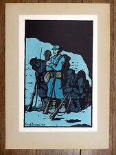 GEORGES BRUYER Gravure Couleur MINUIT. LA RELÈVE. ww1 Première Guerre Mondiale