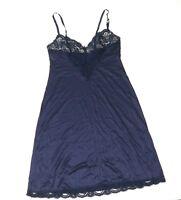 Vtg Vassarette Blue Floral Laced Bodice+Hem Silky Nylon Full Slip Lingerie 36 F