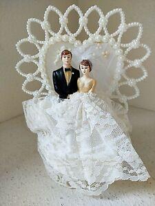 Coast Novelty Vtg 1959 Wedding Anniversary Plastic Cake Topper Bride Groom Lace