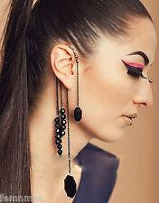 Punk Beaded Tassel Charms Ear Cuff Earrings Black For Women (Single Piece)