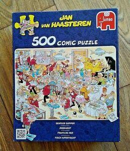 Jan Van Haasteren SEAFOOD SUPPER 500 Piece Comic Puzzle - Complete.