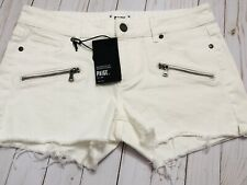Paige Women's Indio zip Short Denim Mid Rise Optic White Cut # 226421 Size 31
