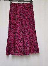 Next Skirt Size 10 Pink & Black Floral Skirt A-Line Skirt Fishtail Skirt - B37