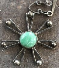 Vintage Old Pawn Sun Burst Handmade Hammered Sterling Silver Turquoise Necklace