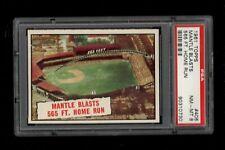 1961 Topps BB Card #406 Mickey Mantle Blasts 565 Ft. Home Run PSA NM-MT 8 !!!!