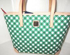 Dooney & Bourke Charleston Shopper Green & White Gingham Zip Top Tote NWT $228