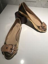 Giuseppe Zanotti 1060 Mirror Metallic Rosegold Buckle Ballet Flats Size 38 8