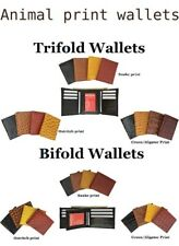 Mens Leather Wallets Ostrich Snakeskin Alligator Print Trifold Bifold to Choose