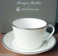 Monique Lhuillier Royal Doulton Pointe D'Esprit Tea Cup & Saucer Made in UK NEW