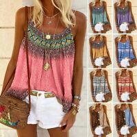 Women Summer Strappy Top Cami T-Shirt Beach Sleeveless Floral Vest Blouse EM