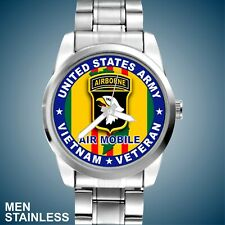 U.S. Army 101st Airborne Air Mobile Vietnam Veteran Blue New Men Stainless Watch
