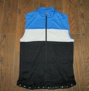Mens Performance Elite Blue/White/Black Sleeveless Cycling Jersey Sz. 3XL