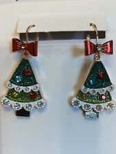 Betsey Johnson Christmas Tree Earrings With Glitter and Crystals