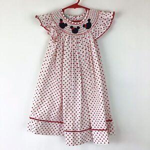 Disney Smocked Minnie Mouse Pink Polka Dot Dress - Size 3 Girls Toddler Velani